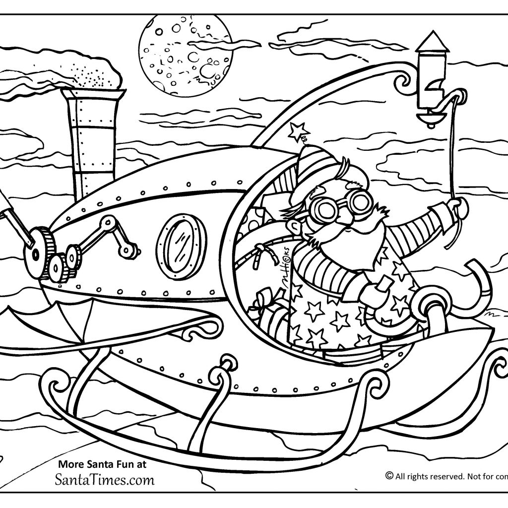 Santa Coloring Pdf With Steampunk Page