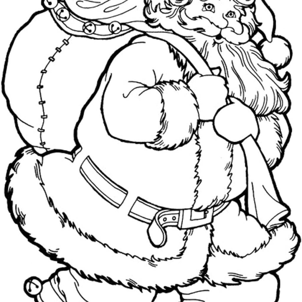 Santa Coloring Photos With Christmas Tree And Pages Download 17 G Printable
