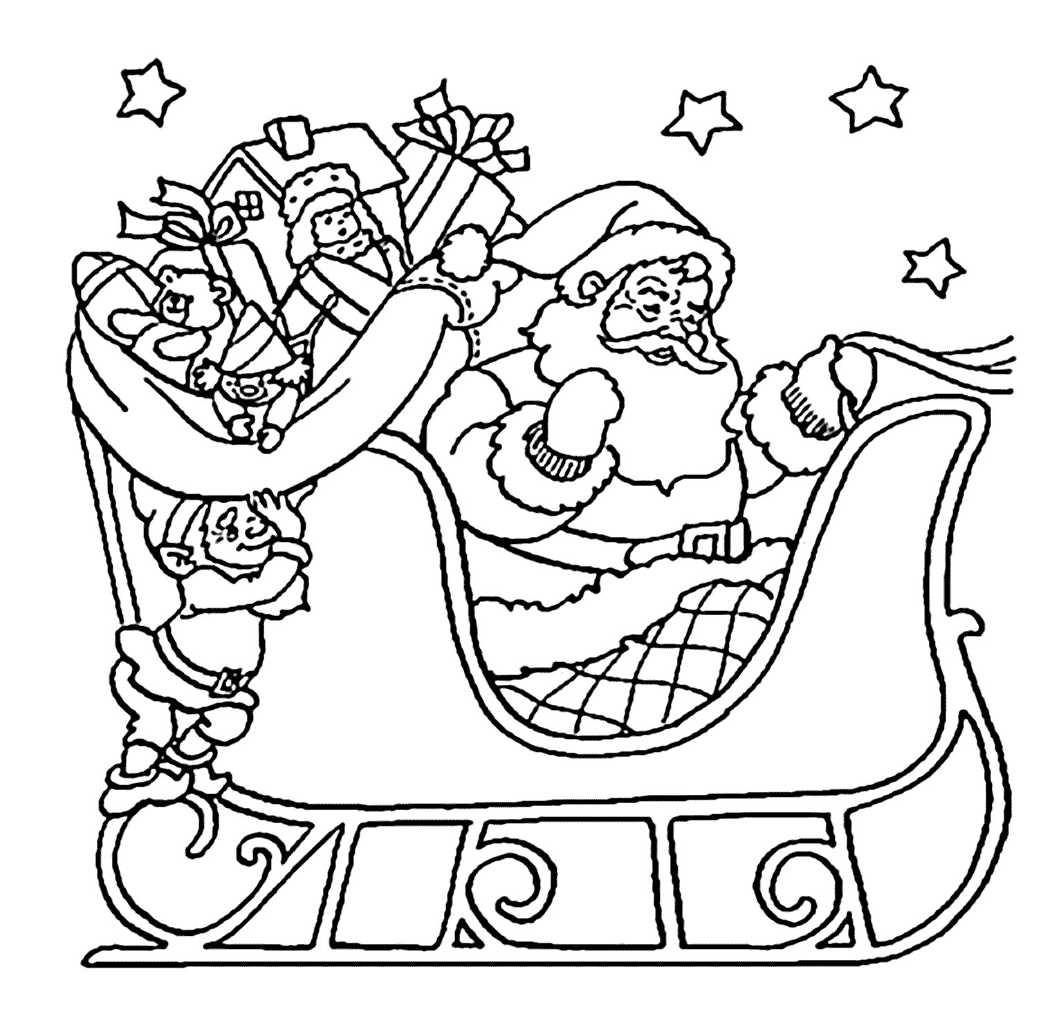 Santa Coloring Photos With Pages Fresh Christmas Sleigh Awesome Of Page