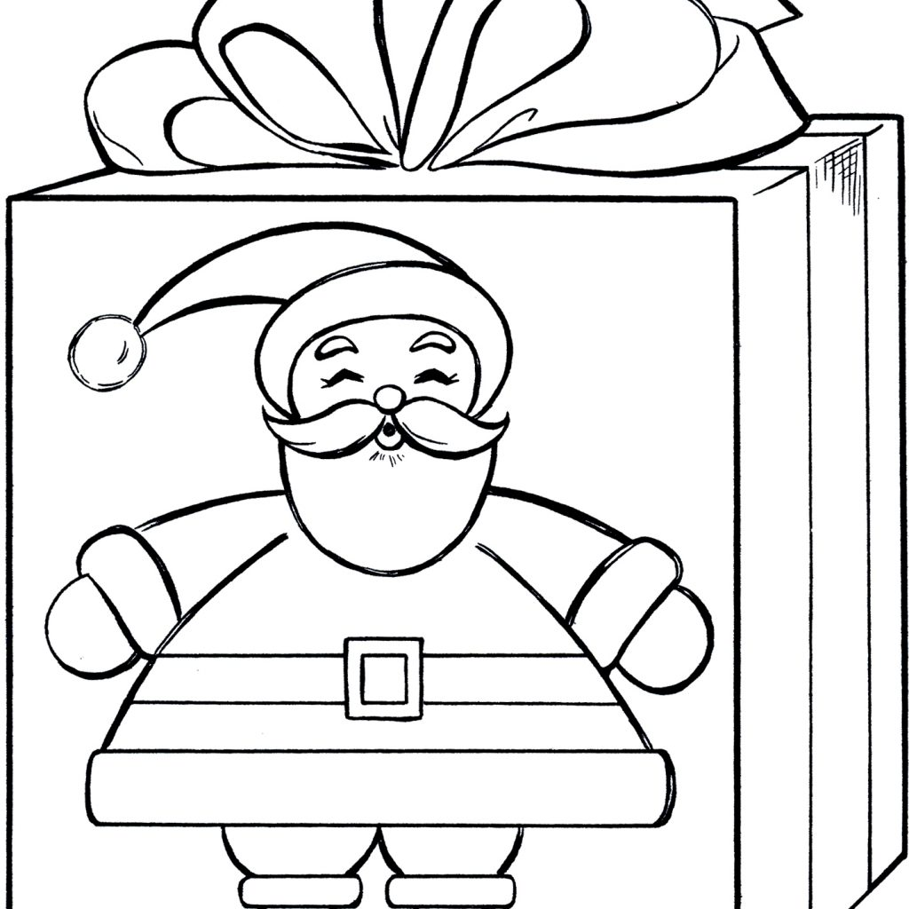 Santa Coloring Pics With Gift Page Cute The Graphics Fairy