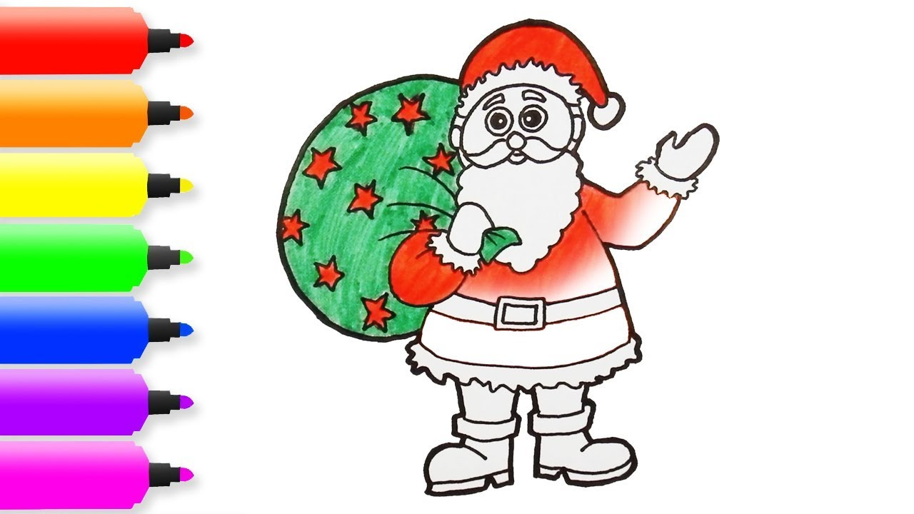 Santa Coloring Pics With How To Draw Color Claus For Kids