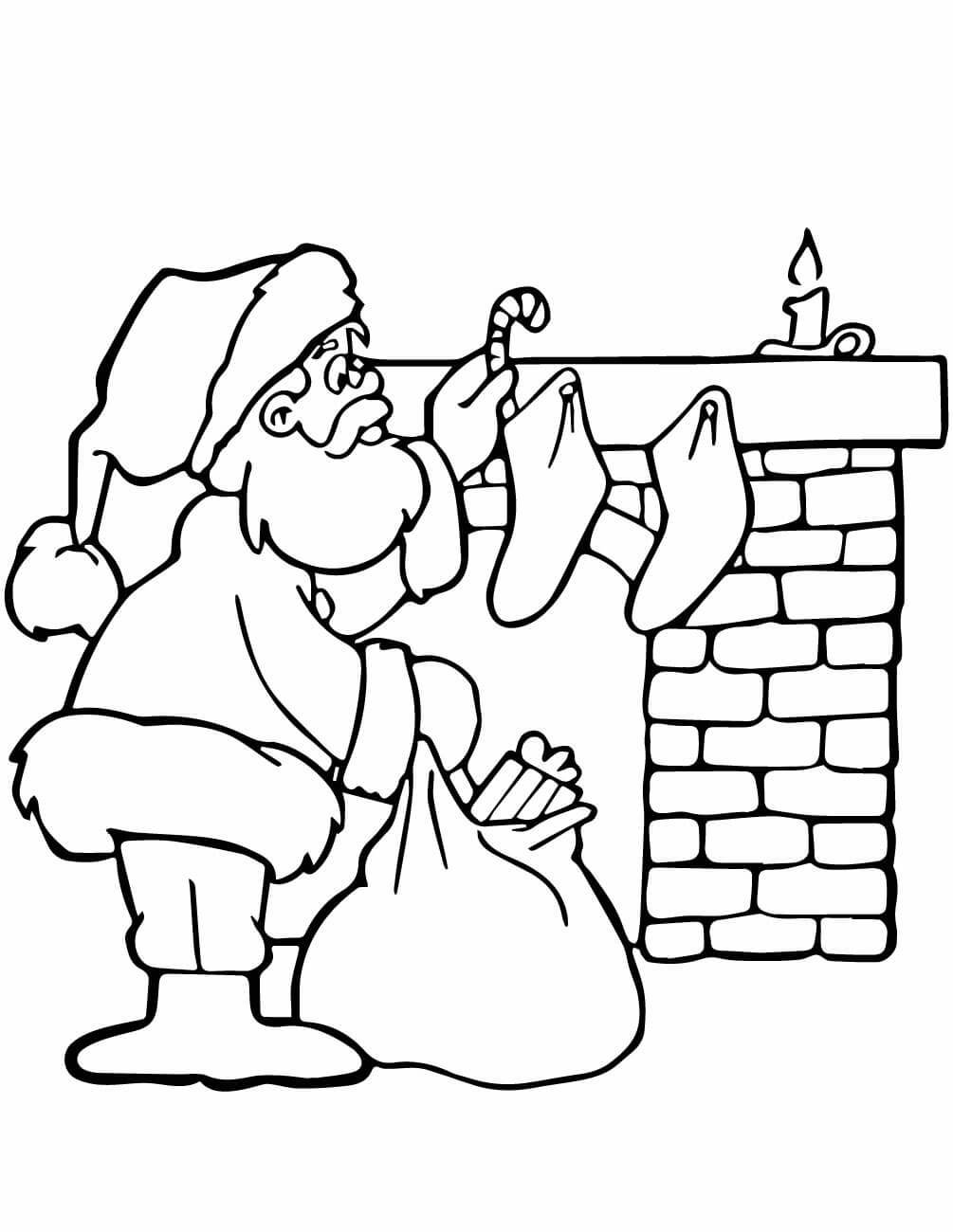 Santa Coloring Pictures Free With Christmas Pages