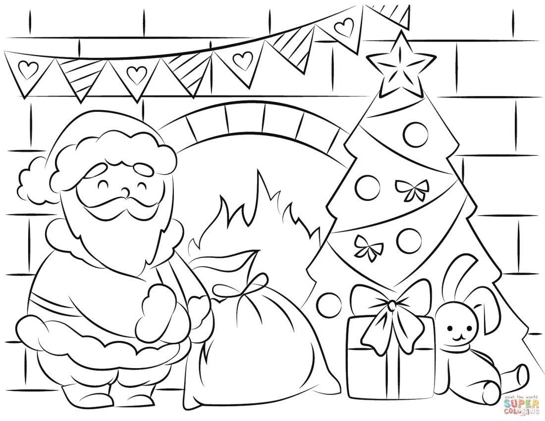 Santa Coloring Pictures Free With Pages And Printables For Kids