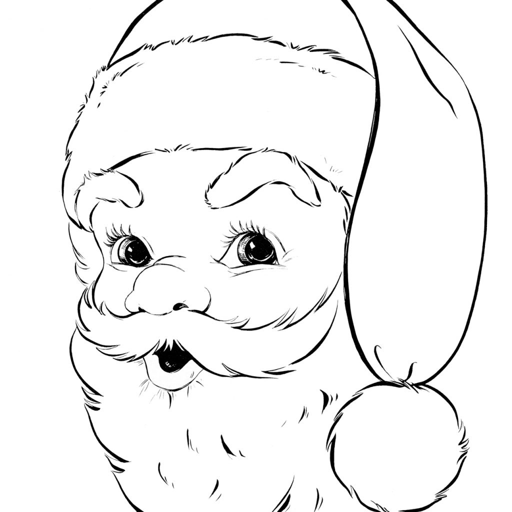 Santa Coloring Pictures Free With Retro Page The Graphics Fairy