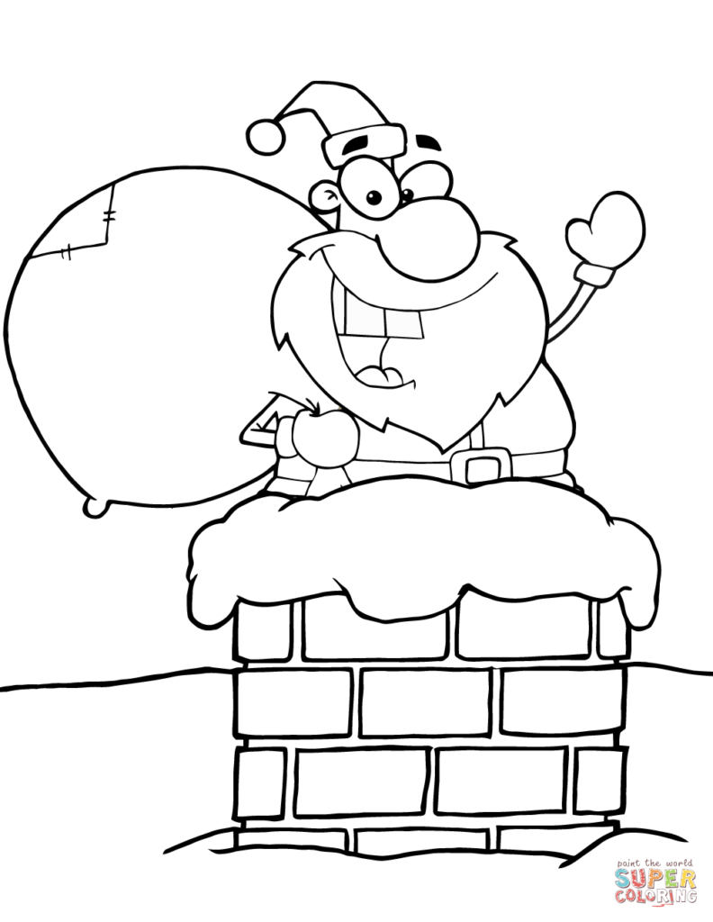 Santa Coloring Pictures Online With Claus In Chimney Page Free Printable Pages