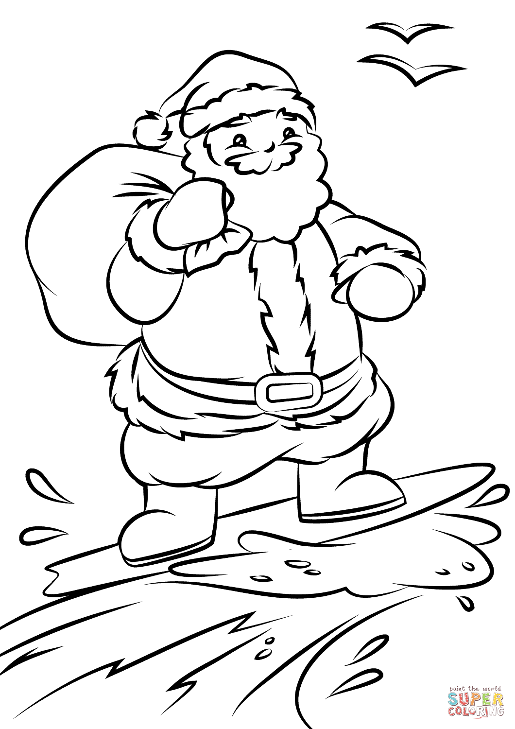 Santa Coloring Sheet Printable With Surfing Page Free Pages