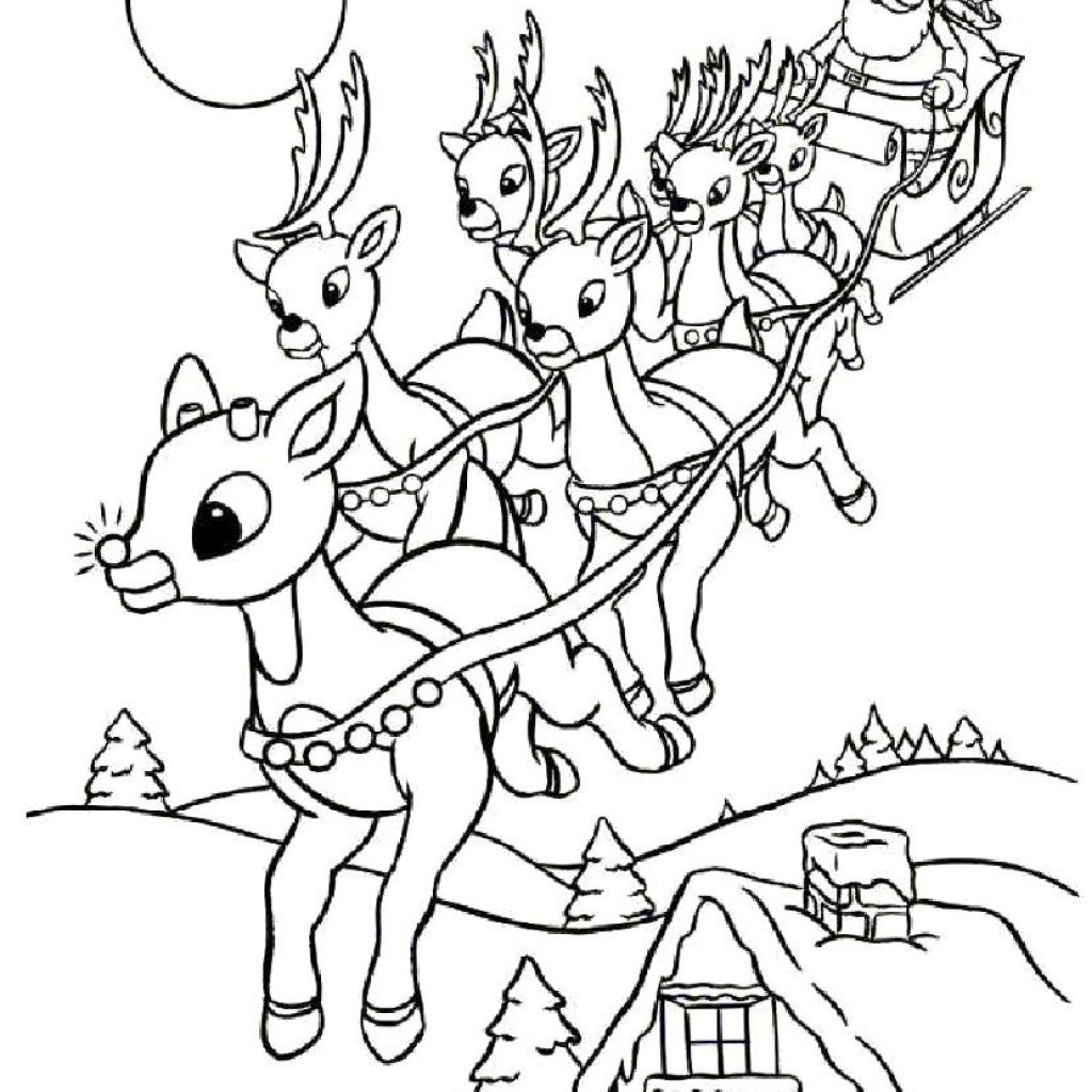 Santa Coloring Sheet Printable With Xmas Stuff For Christmas Pages Baby Reindeer