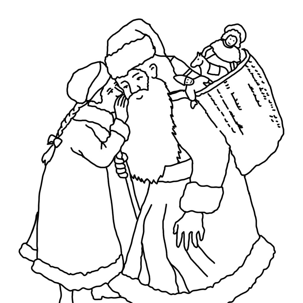 Santa Coloring Sheet With Christmas Pages