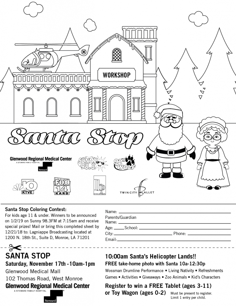 Santa Coloring Sheet With Stop 2018 KZRZ FM