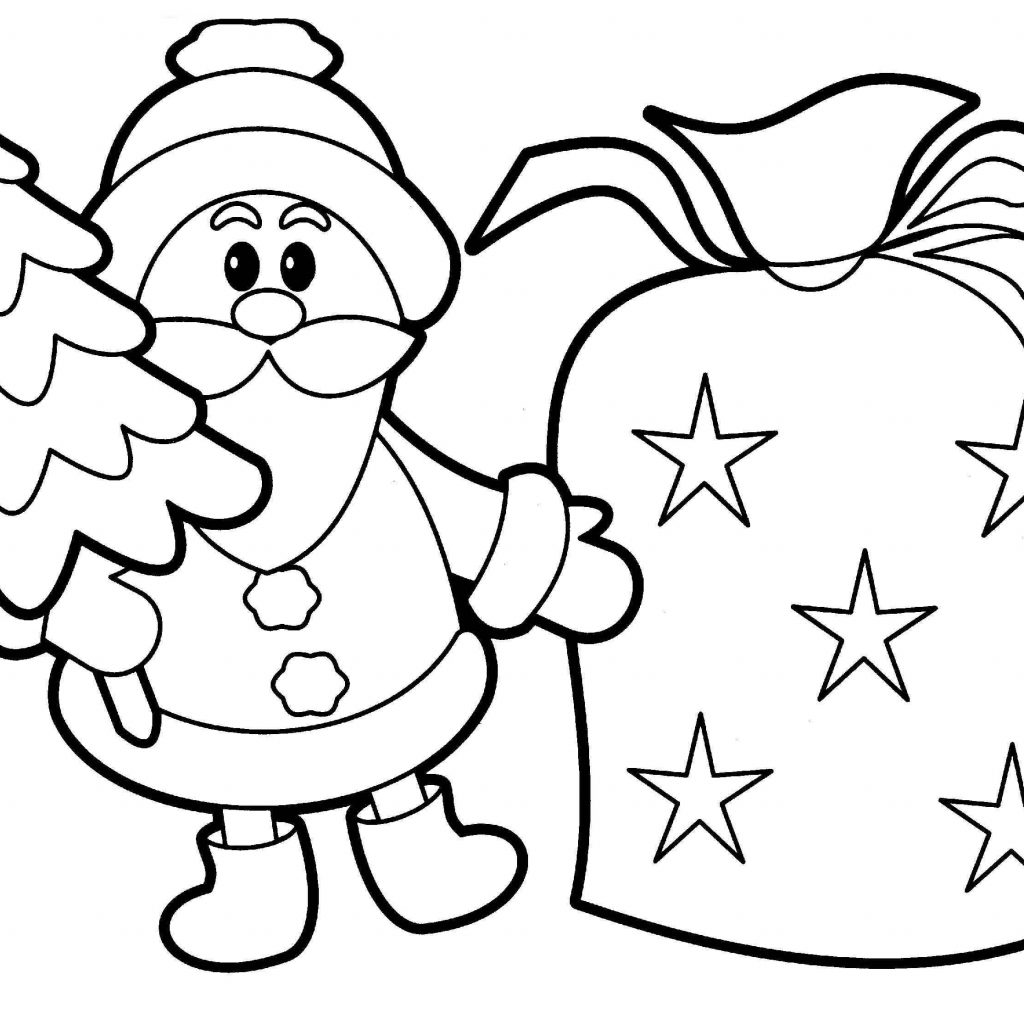 Santa Coloring Template With Christmas New Printable Pages For