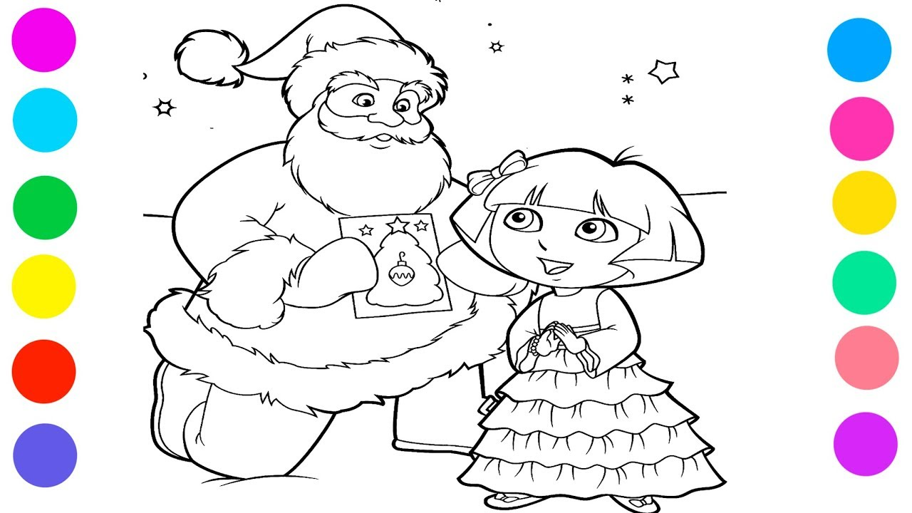 Santa Coloring Videos With Claus And Dora Colored Markers For Kids YouTube