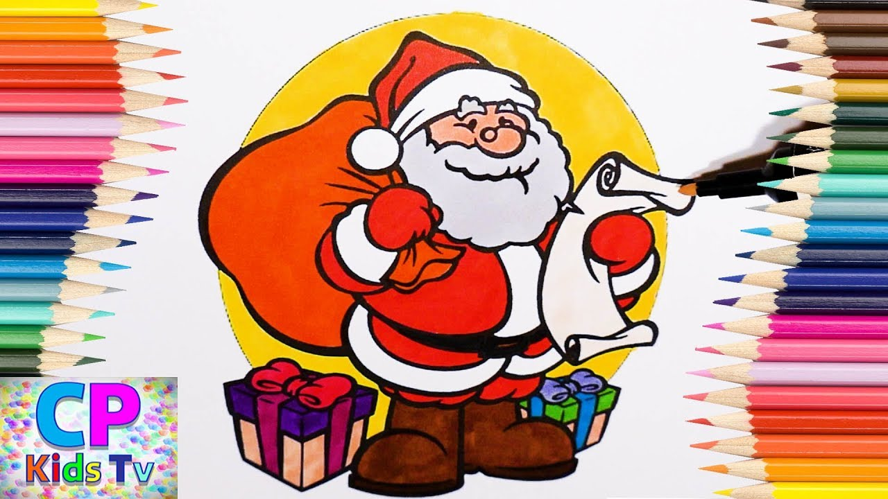 Santa Coloring Videos With Claus Pages For Kids How To Color
