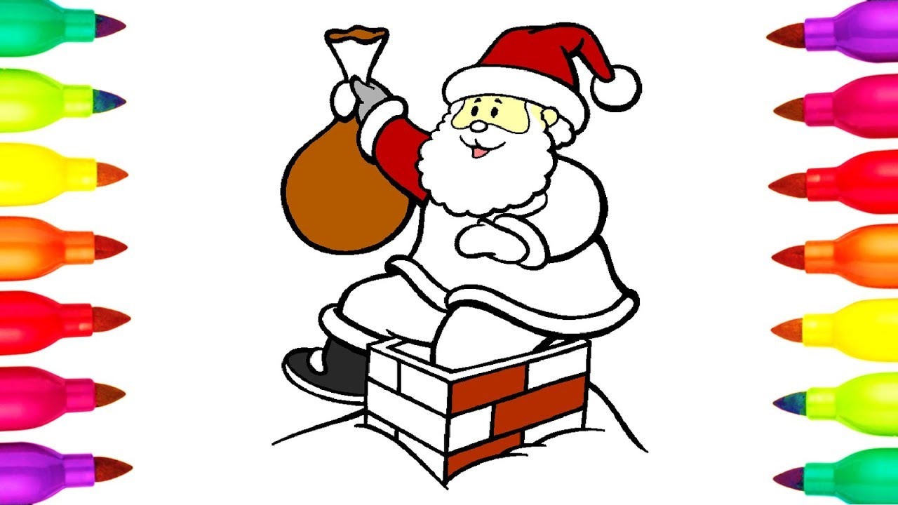 Santa Coloring Videos With Colours For Kids How To Draw SANTA CLAUS Colouring
