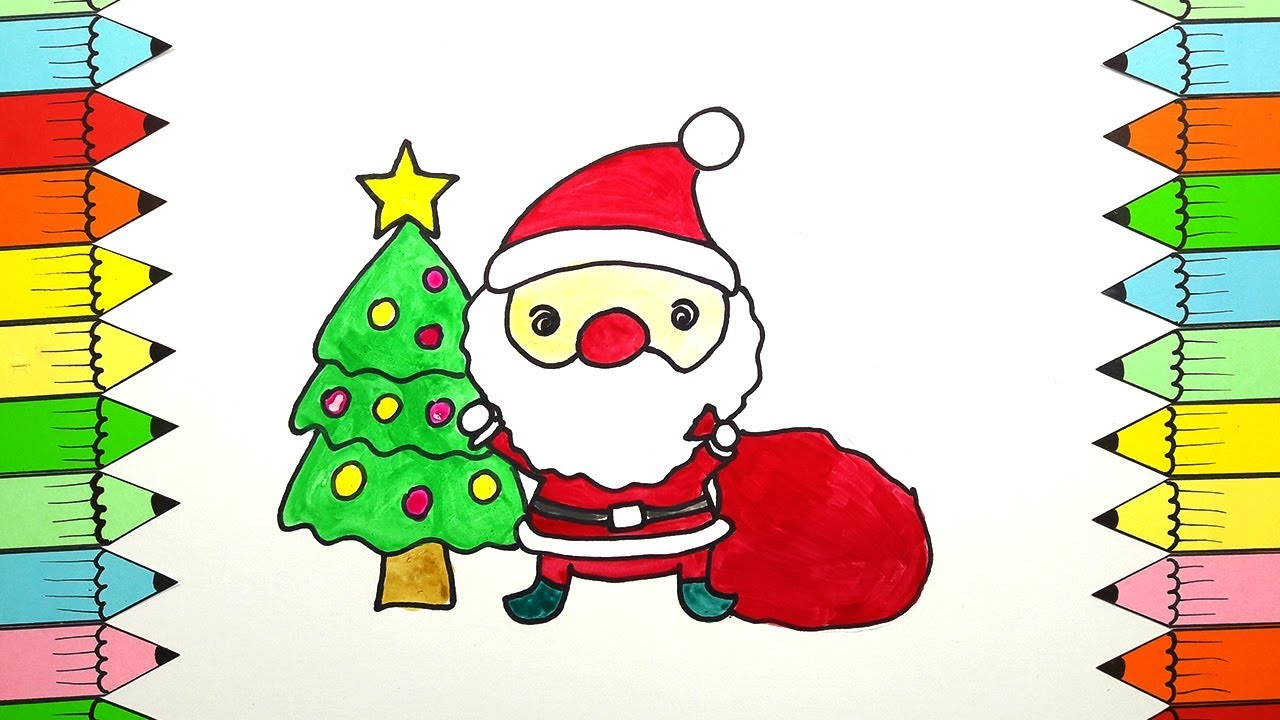Santa Coloring Videos With Drawing For Kids How To Draw Merry Christmas