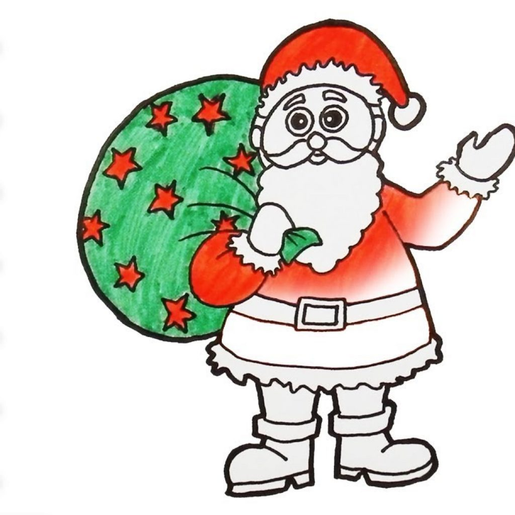 Santa Coloring Videos With How To Draw Color Claus For Kids