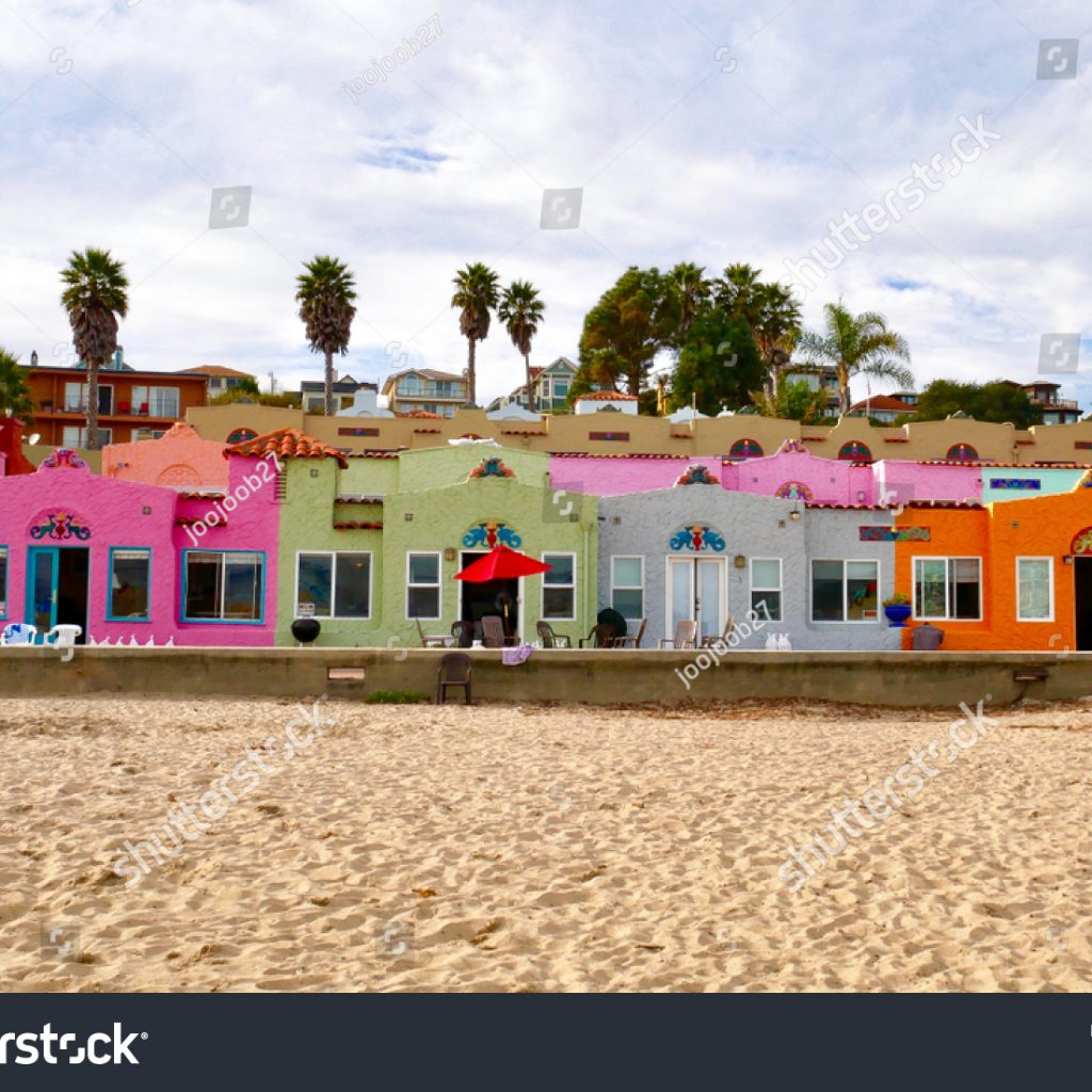 Santa Cruz Colored Houses With Capitola Beach CA November 242017 Colorful House Stock Photo Edit