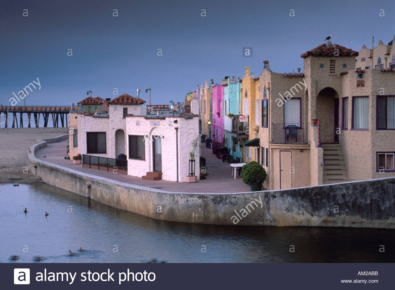 Santa Cruz Colored Houses With Capitola Beach Pier Stock Photos