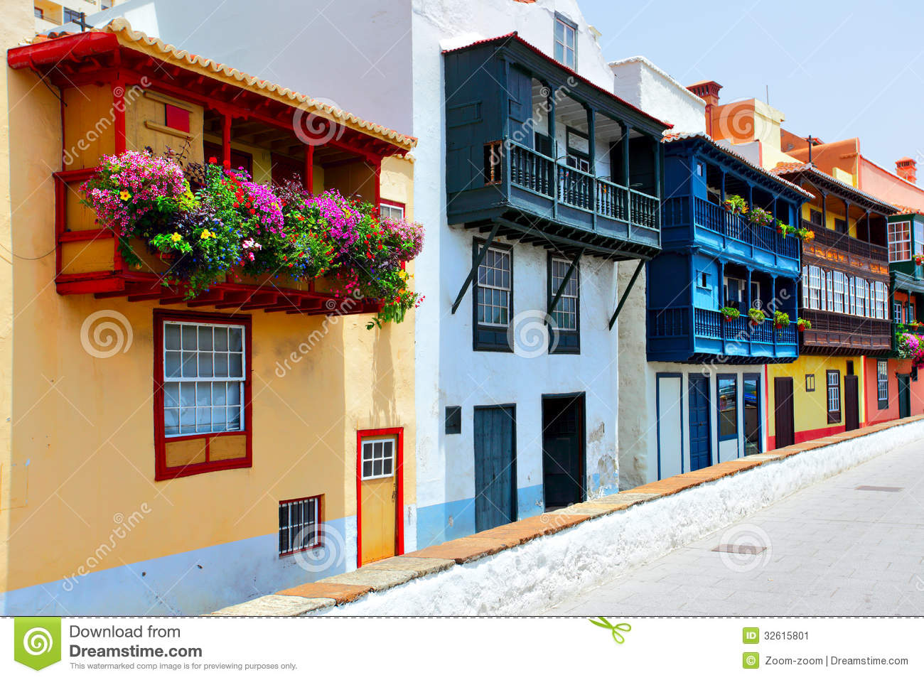 Santa Cruz Colored Houses With Colorful Balconies Stock Image Of Place Closeup