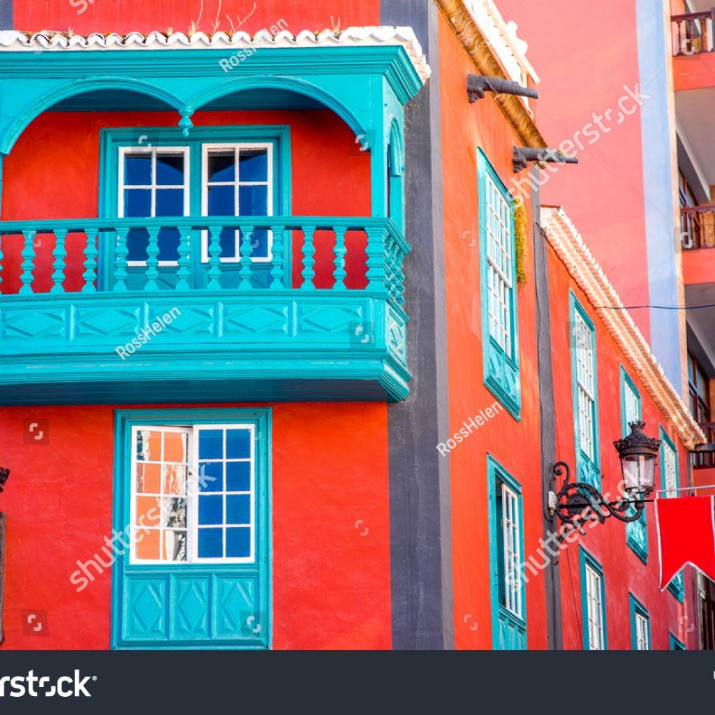 Santa Cruz Colored Houses With Colorful House Beautiful Balcony Stock Photo Edit Now