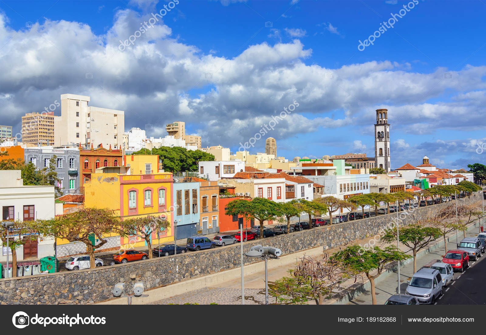 Santa Cruz Colored Houses With De Tenerife Canary Islands Spain Cityscape C