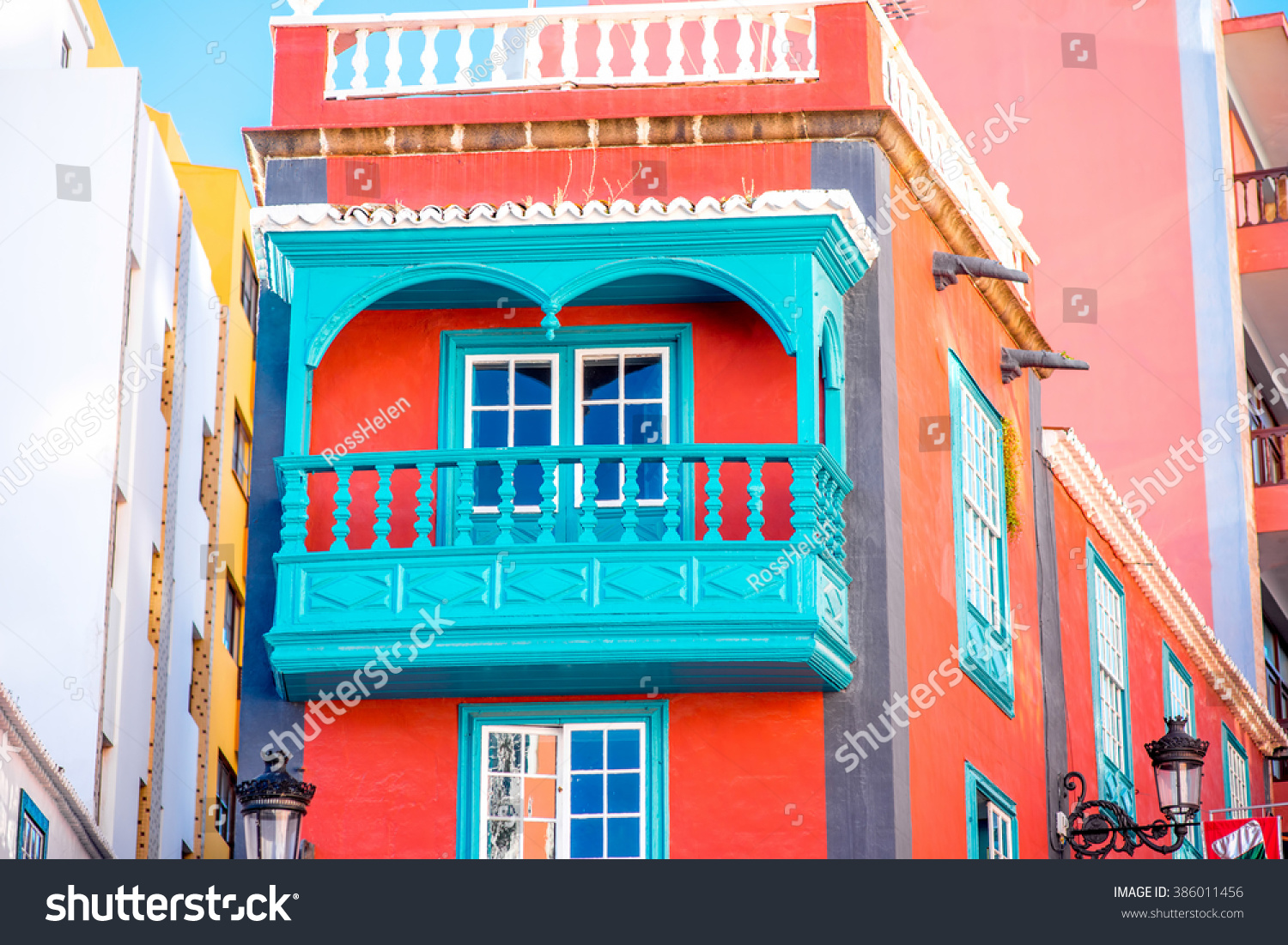 Santa Cruz Colored Houses With Royalty Free Colorful House Beautiful Balcony 386011456 Stock
