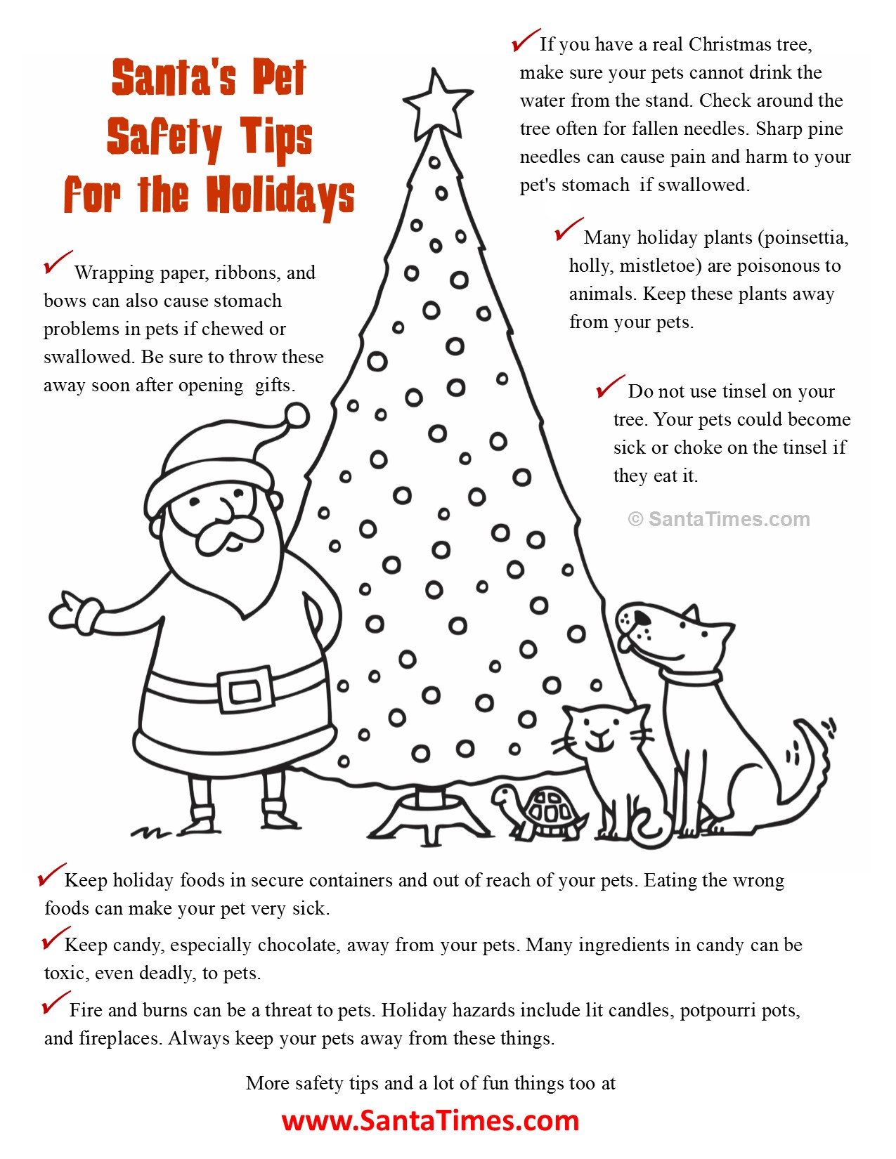 Santa Dog Coloring Pages With S Christmas Pet Safety Page Here Are Some Helpful