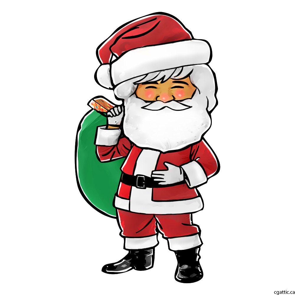 Santa Drawing Colored With Cartoon In 4 Steps Photoshop