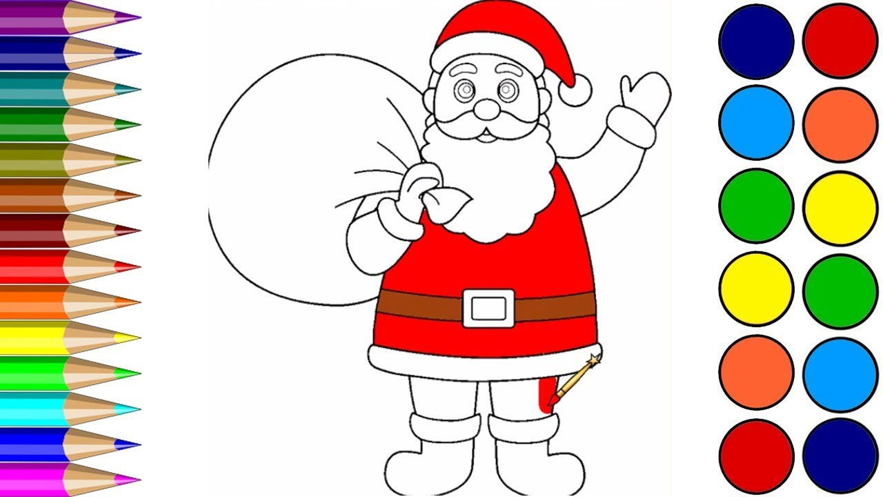 Santa Drawing Colored With Claus Coloring Pages Learn Color Video For Children
