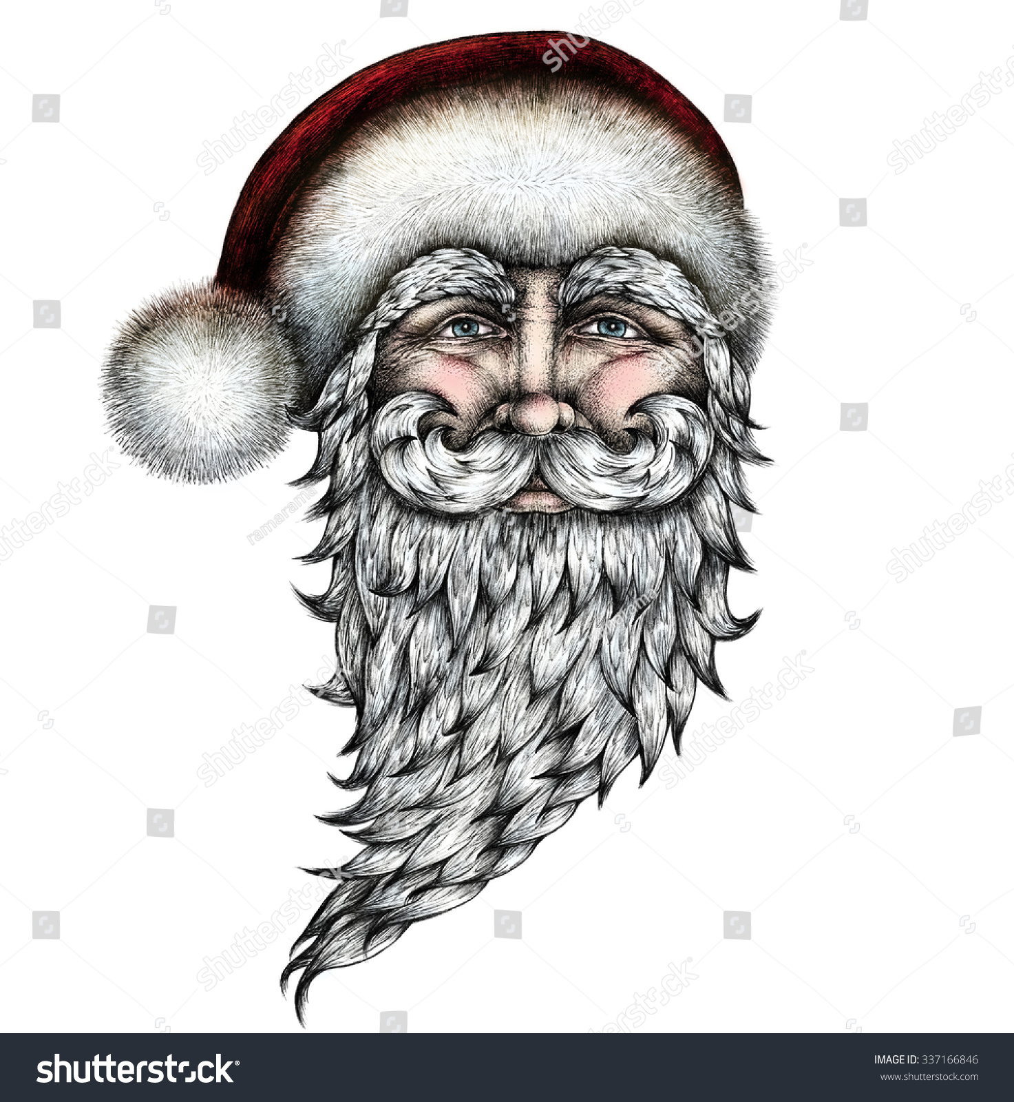 Santa Drawing Colored With Claus Ink Pen Hand Stock Illustration 337166846