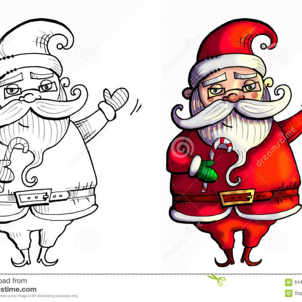Santa Drawing Colored With Claus Waving To The Kids His Hand Up Stock Illustration