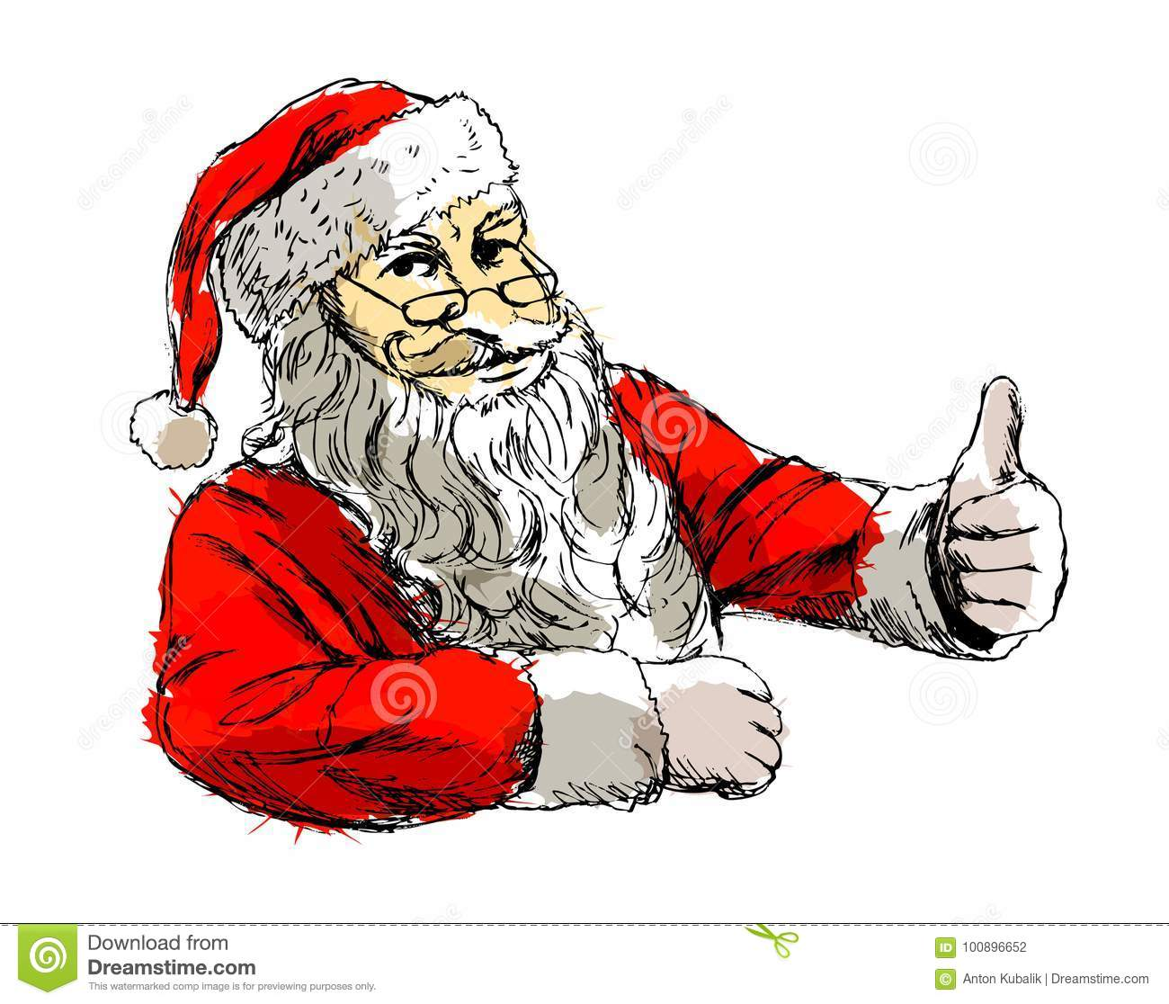 Santa Drawing Colored With Hand Sketch Claus Stock Vector Illustration Of Event