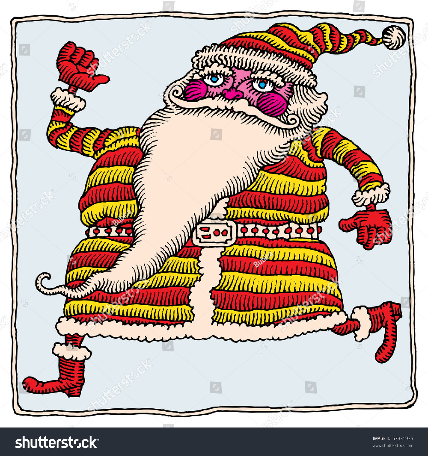 Santa Drawing Colored With Happy Running Claus Stock Vector Royalty Free