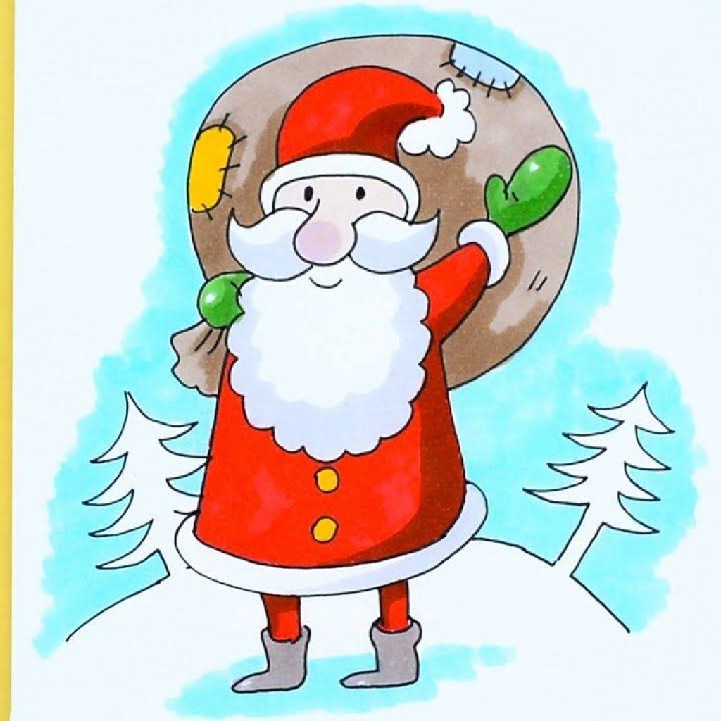 Santa Drawing Colored With How To Draw Cartoon Claus EASY For KIDS TV