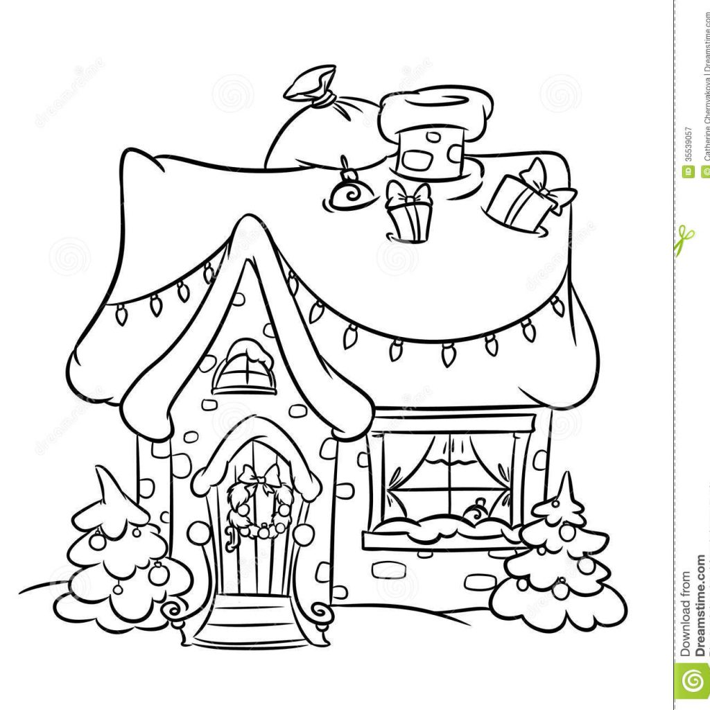 Santa Duck Coloring Page With Christmas Snow House Stock Illustration Of Decoration