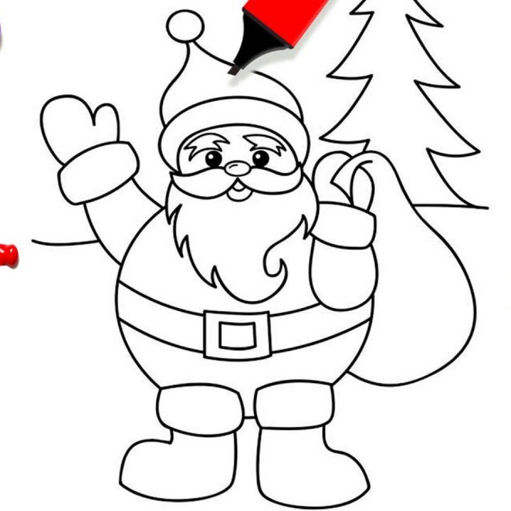 Santa Duck Coloring Page With Simple Christmas Pages For Kids How To Draw Clause