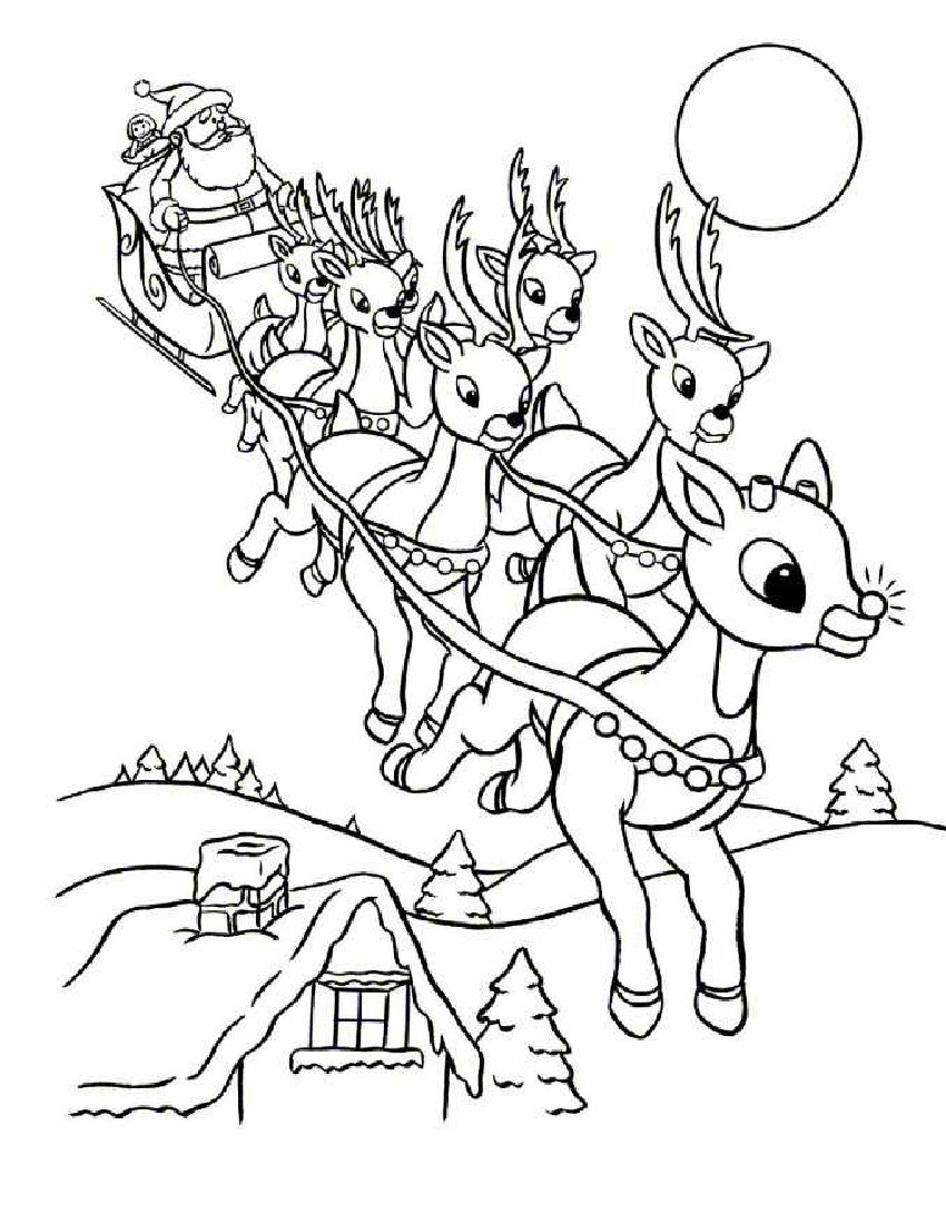 Santa Face Coloring Page Template With Claus Sleigh Pages