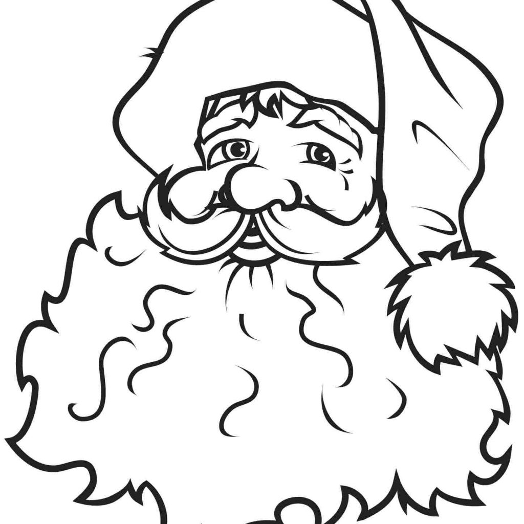 Santa Face Coloring Page Template With Free Claus Outline Download Clip Art On