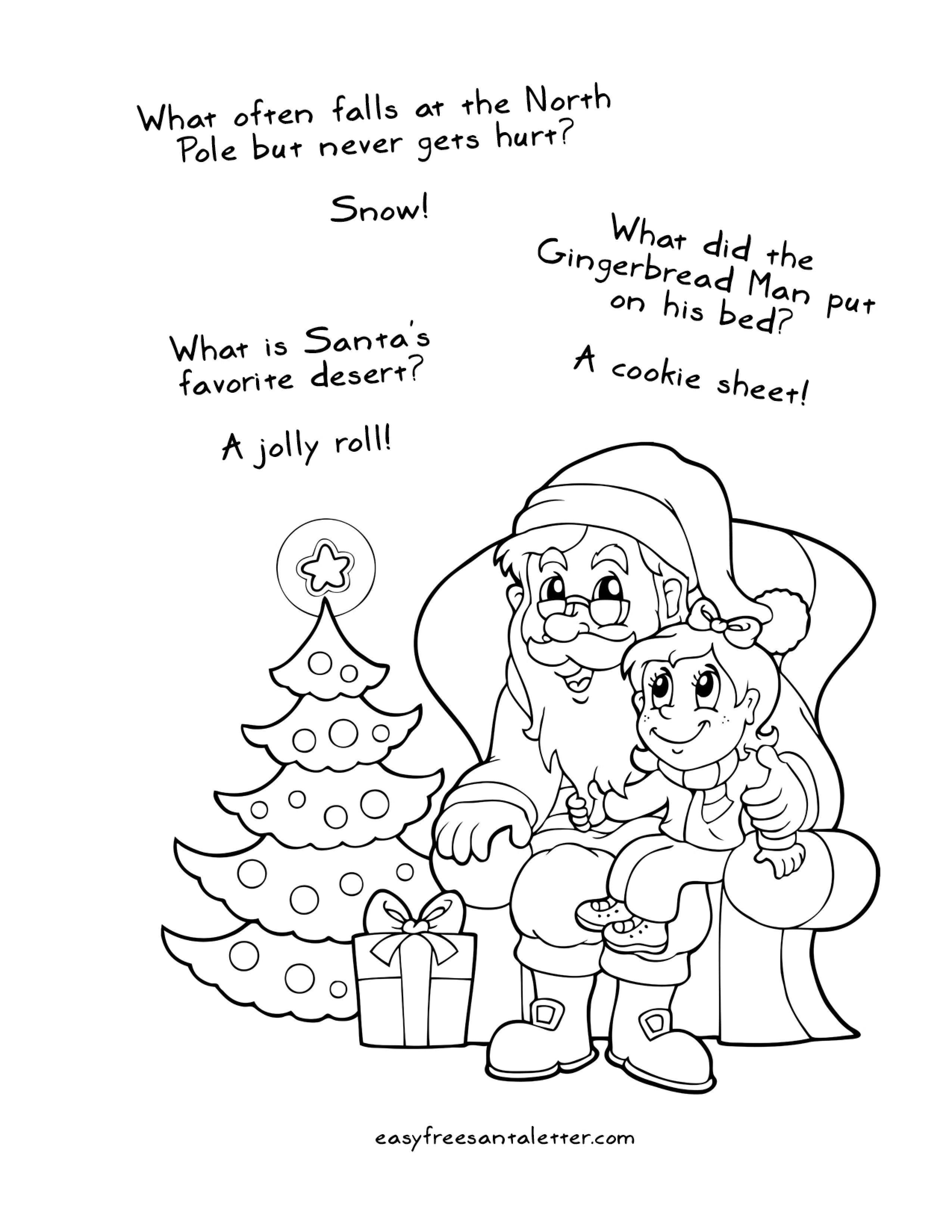 Santa Face Coloring Page Template With Free Printable Christmas Pages Jokes And