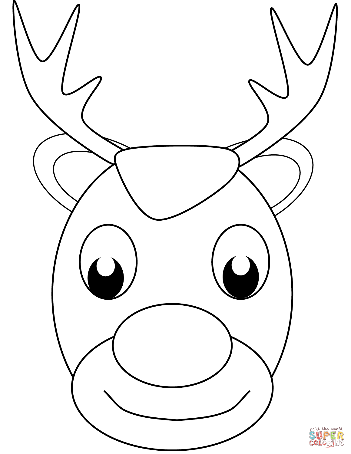 Santa Face Coloring Page With Claus S Reindeer Free Printable Pages
