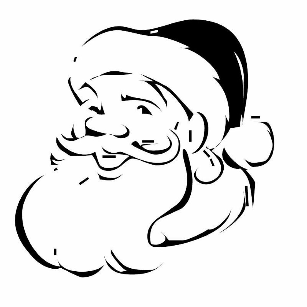 Santa Face Coloring Page With Xmas Stuff For Christmas Pages Art