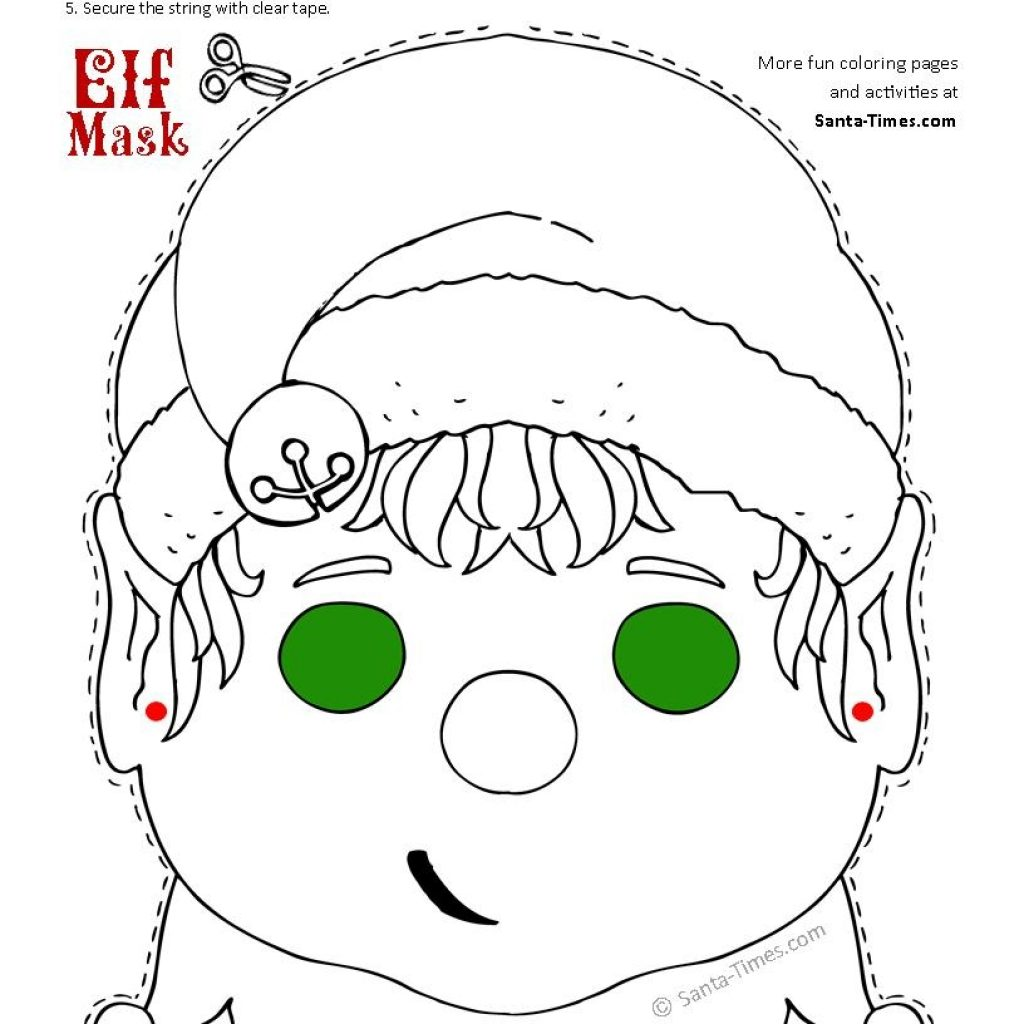 Santa Face Coloring Sheet With Christmas Elf Mask Printable Page More Fun Activities