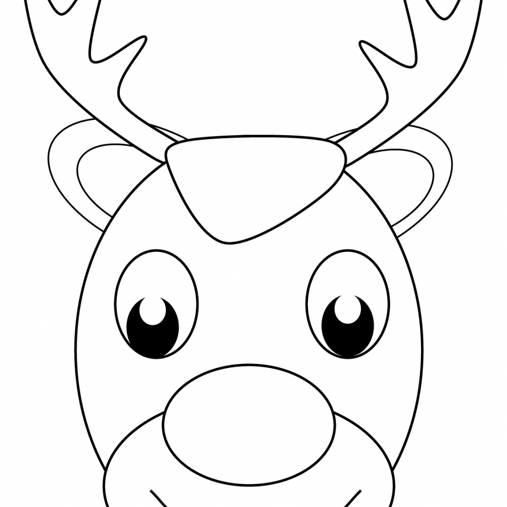 Santa Face Coloring Sheet With Claus S Reindeer Page Free Printable Pages