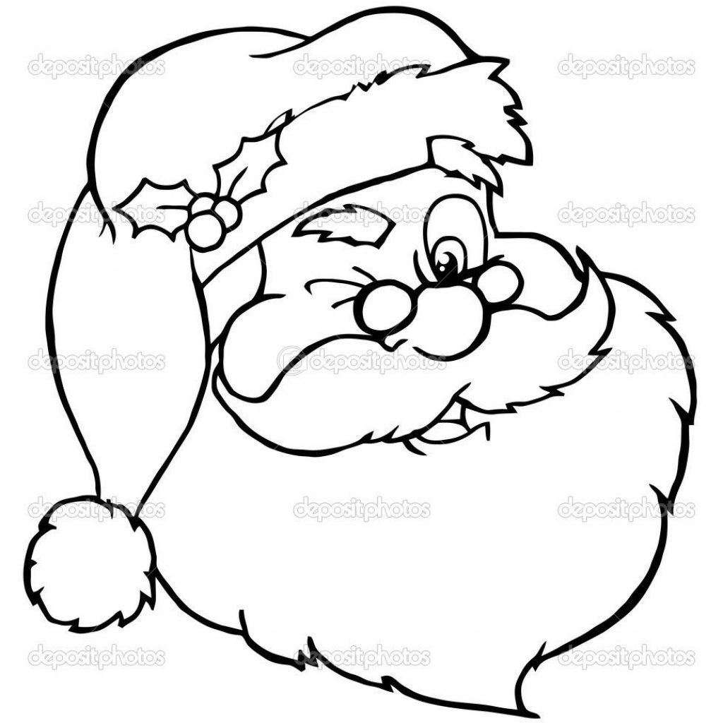 Santa Face Coloring Sheet With Outlined Winking Stock Photo HitToon 4728070