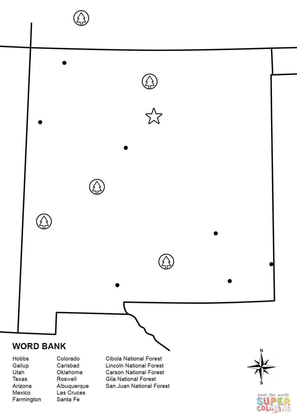 Santa Fe Coloring Pages With New Mexico Map Worksheet Page Free Printable Adorable