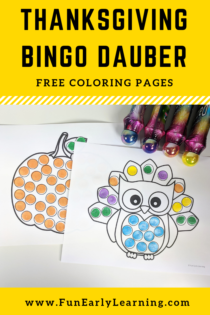 Santa Fe Coloring Pages With Thanksgiving Bingo Dauber Free Printable Celebrate