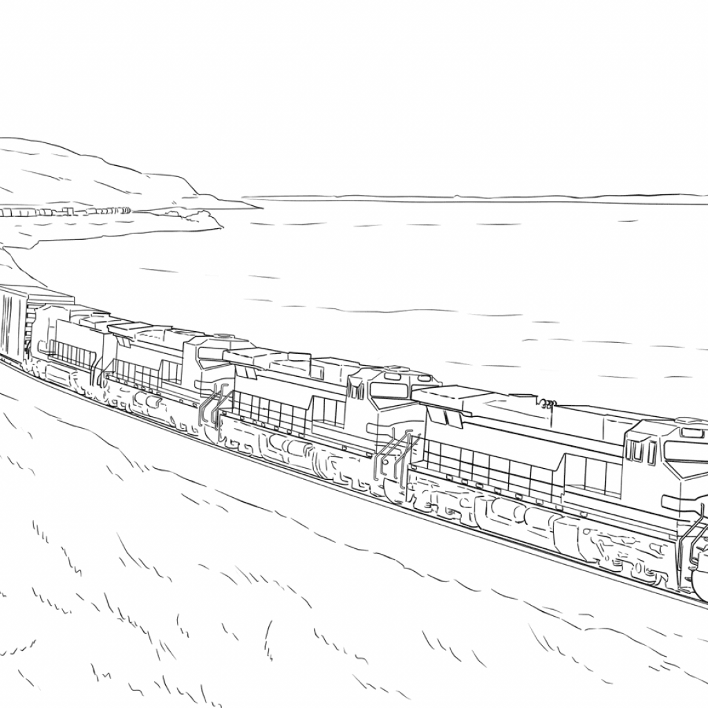 Santa Fe Train Coloring Pages With Freight Page Free Printable