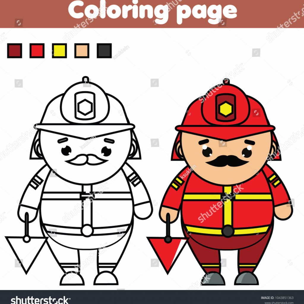 santa-fireman-coloring-page-with-color-picture-educational-stock-vector