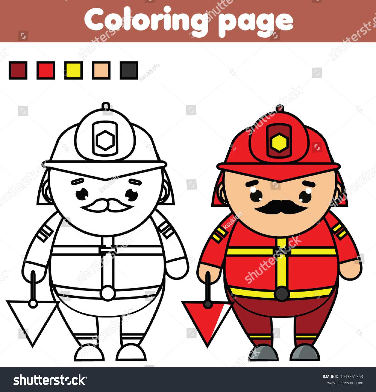 Santa Fireman Coloring Page With Color Picture Educational Stock Vector