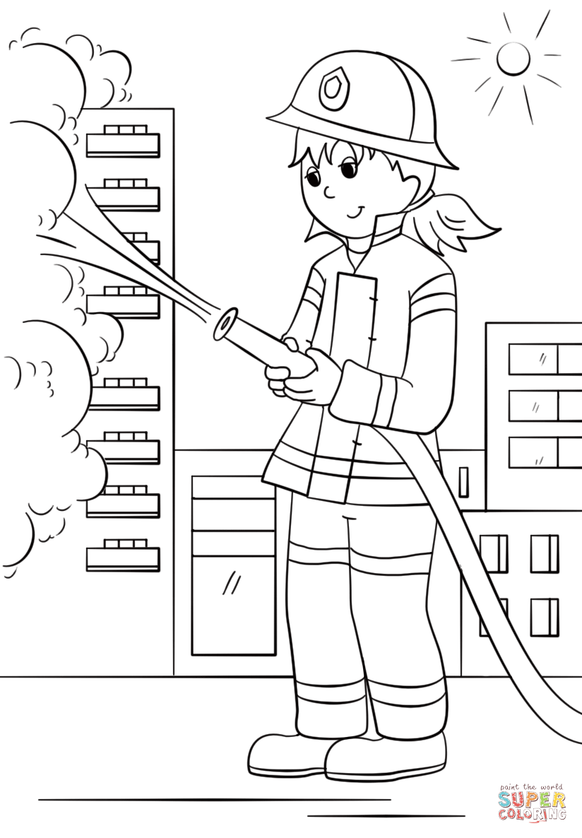 Santa Fireman Coloring Page With Girl Firefighter Free Printable Pages
