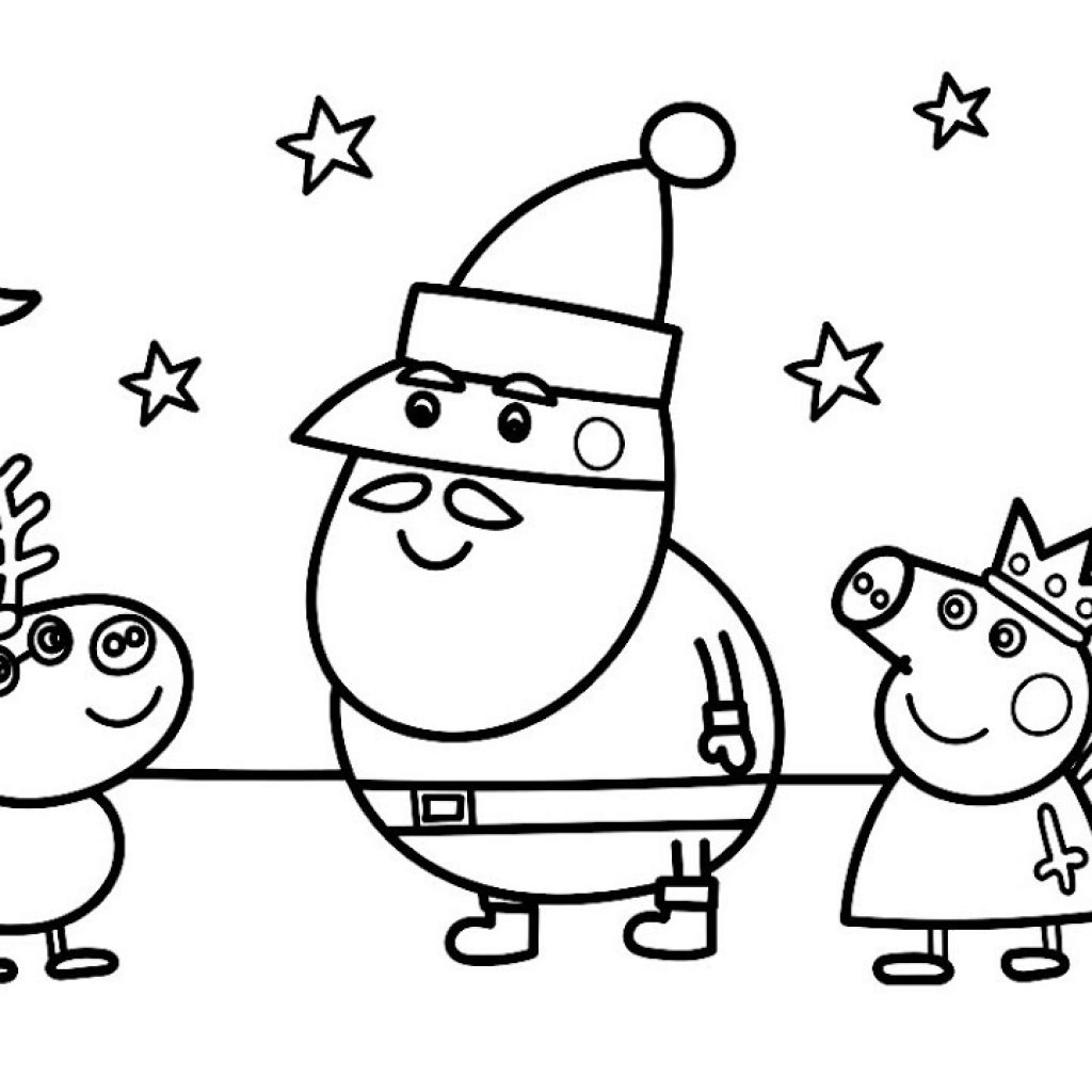 Santa Fireman Coloring Page With Peppa Pig Christmas Pages For Children